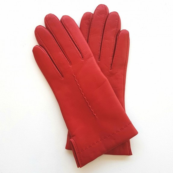 "Leather gloves of lamb red ""THERESE""."
