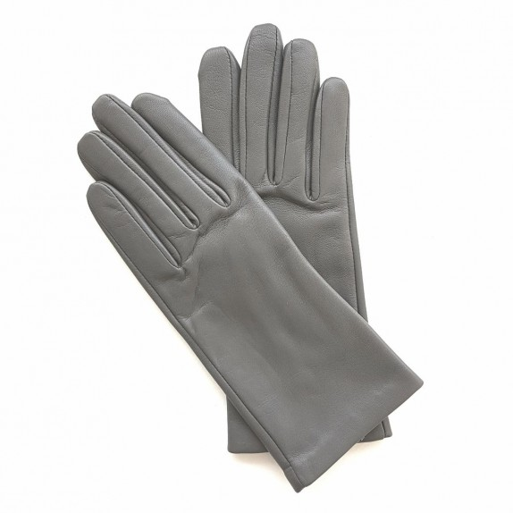 "Leather gloves of lamb grey ""CAPUCINE""."