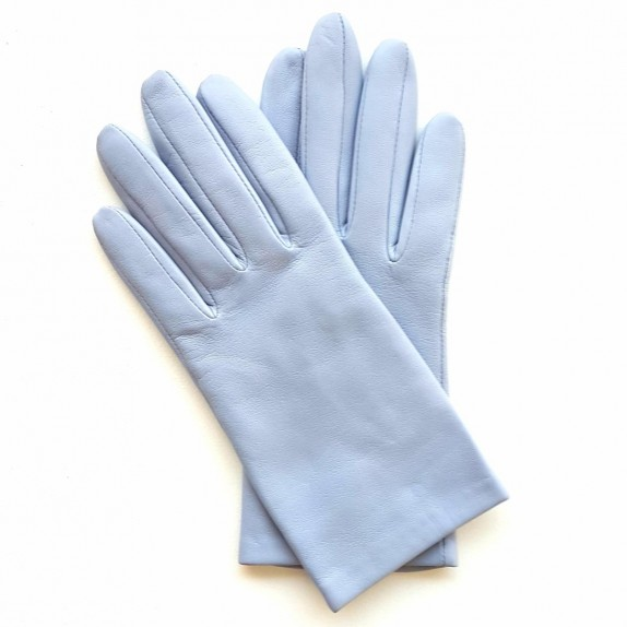 "Leather gloves of lamb lavender blue ""CAPUCINE""."
