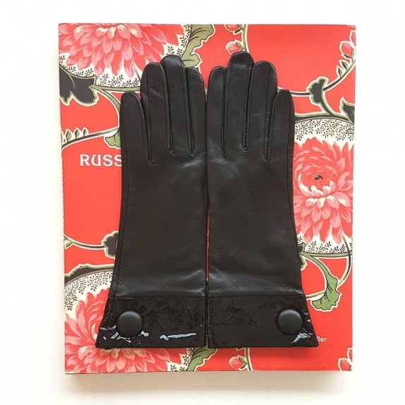 """Leather gloves of lamb and patent leather black """"TWIGY""""."""
