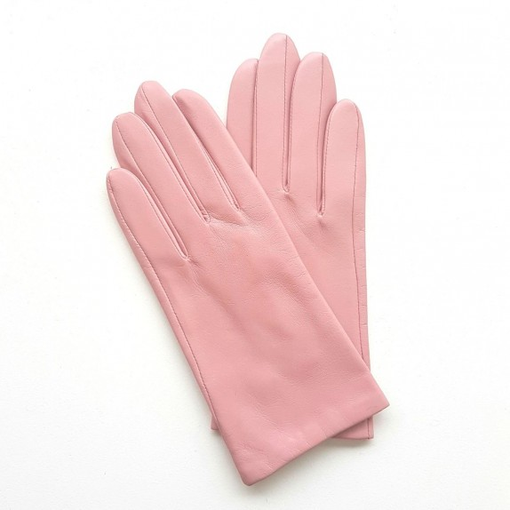 """Leather gloves of lamb pink """"CAPUCINE""""."""