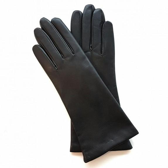 "Leather gloves of lamb black ""COLINE""."