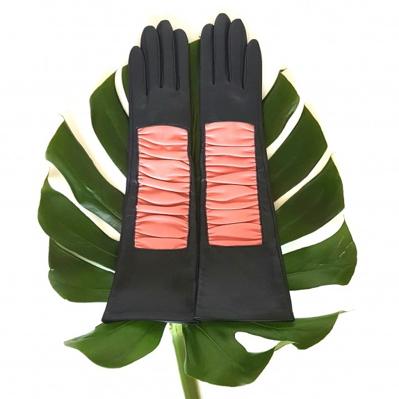 "Leather gloves of lamb navy, blossom ""SHIZUYO""."