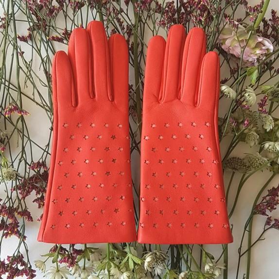 "Leather gloves of lamb nasturtium, pink ""SEREN""."