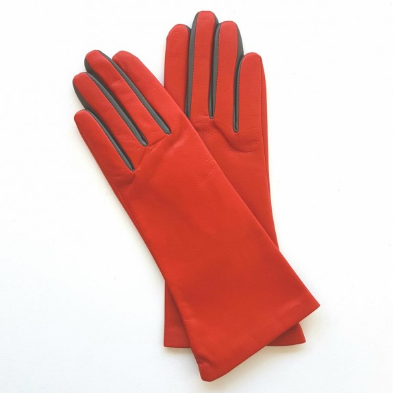 "Leather gloves of lamb chilly charcoal ""ELISA""."