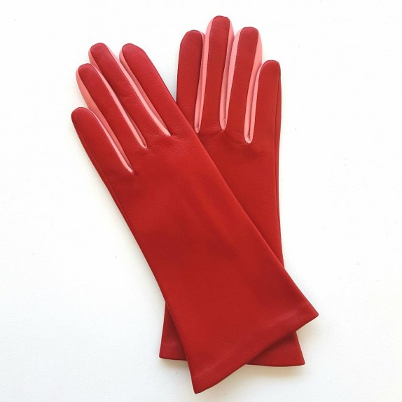 "Leather gloves of lamb red and pink ""ELISA""."