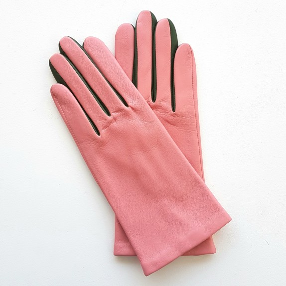 "Leather gloves of lamb pink khaki ""COLOMBE""."