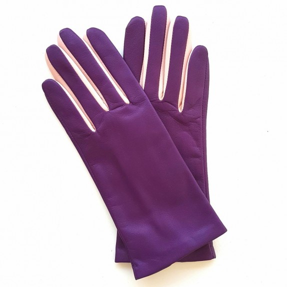 "Leather gloves of lamb amethyst pink""COLOMBE""."