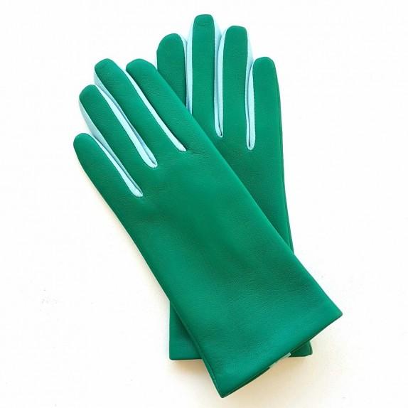"""Gants en cuir  d'agneau vert émeraude bleu ciel """"COLOMBE""""."""