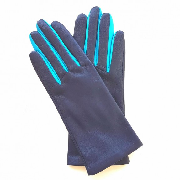 "Leather gloves of lamb damson, turquoise ""COLOMBE""."