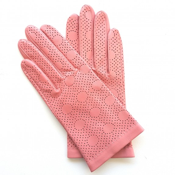 "Leather gloves of lamb pink ""CARMELINA""."