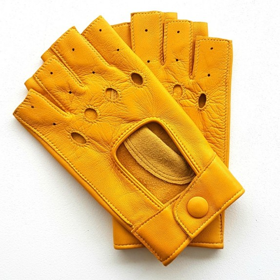 "Leathermittens of lamb yellow ""PILOTE""."