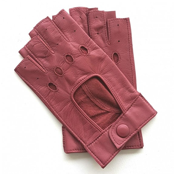 "Leather mittens of lamb pink antique ""PILOTE""."
