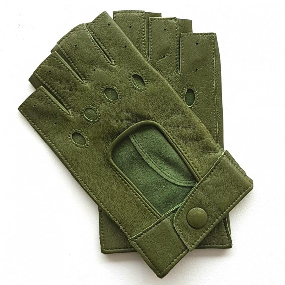 "Leather mittens of lamb green ""PILOTE""."