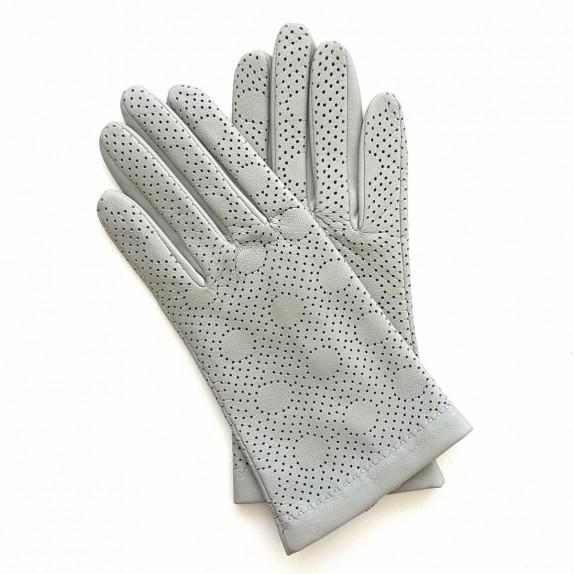 "Leather gloves of lamb light grey ""CARMELINA""."