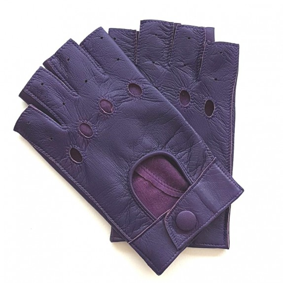 "Leather mittens of lamb amethyst ""PILOTE""."