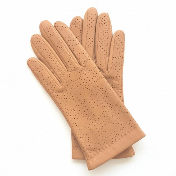"Leather gloves of lamb biscuitr CARMELINA""."
