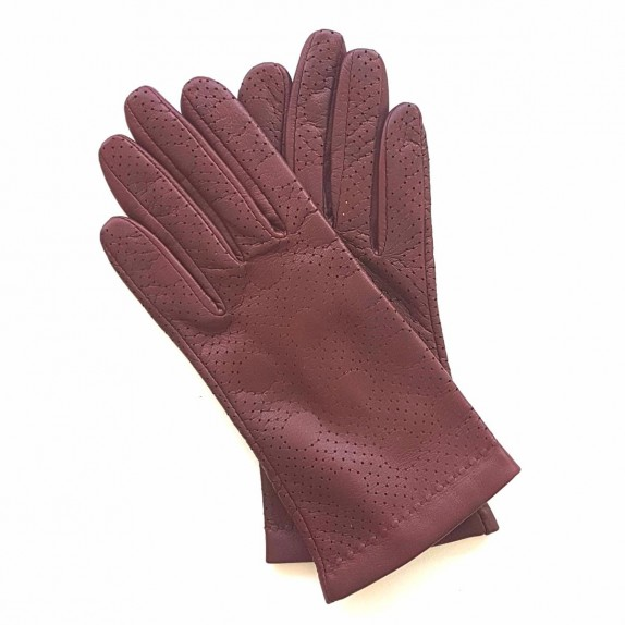 "Leather gloves of lamb maroon ""CARMELINA""."