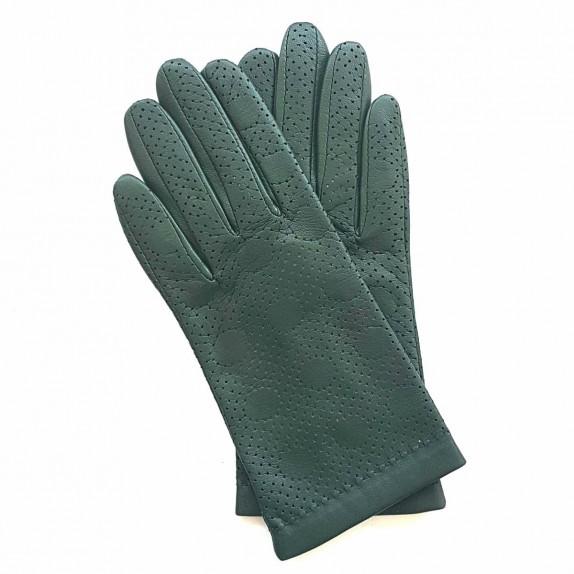 """Leather gloves of lamb khaki """"CARMELINA""""."""