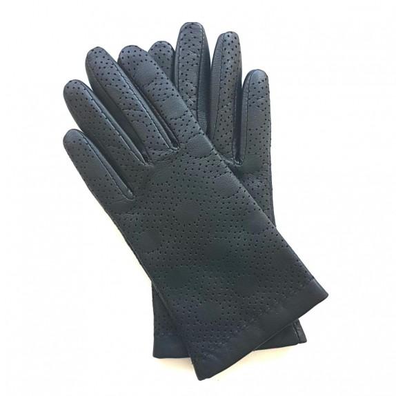 "Leather gloves of lamb black ""CARMELINA""."