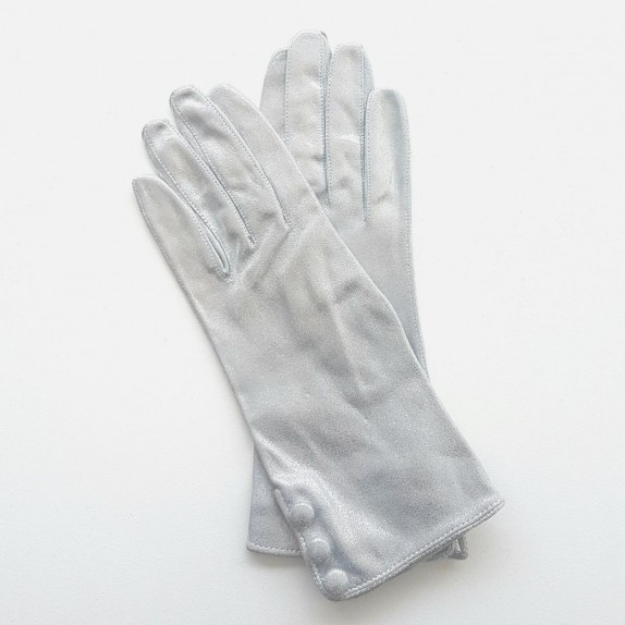 "Leather gloves of lamb silver ""GLORIA""."