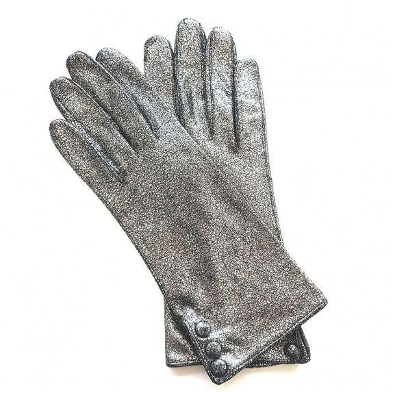 "Leather gloves of lamb pewter ""GLORIA""."