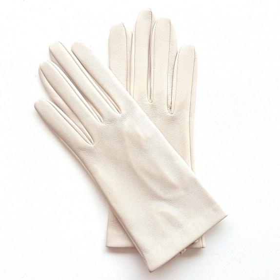 "Leather gloves of lamb off-white ""CAPUCINE""."