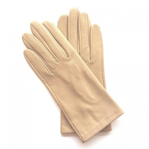 "Leather gloves of lamb Sand ""CAPUCINE""."
