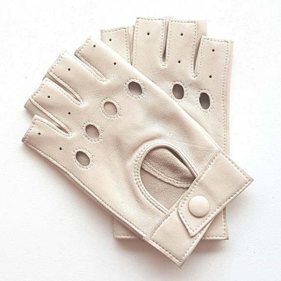 """Leather mittens of lamb off- white """"PILOTE""""."""