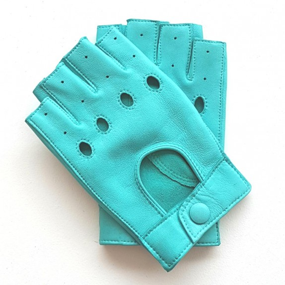 "Leather mittens of lamb turquoise ""PILOTE""."