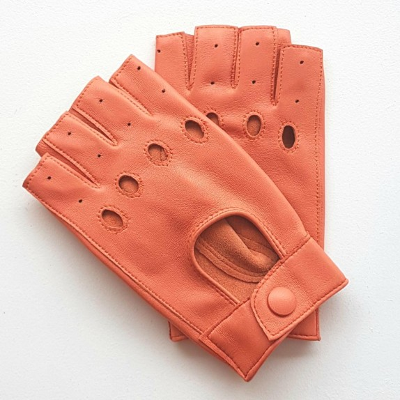 "Leather mittens of lamb coral ""PILOTE""."
