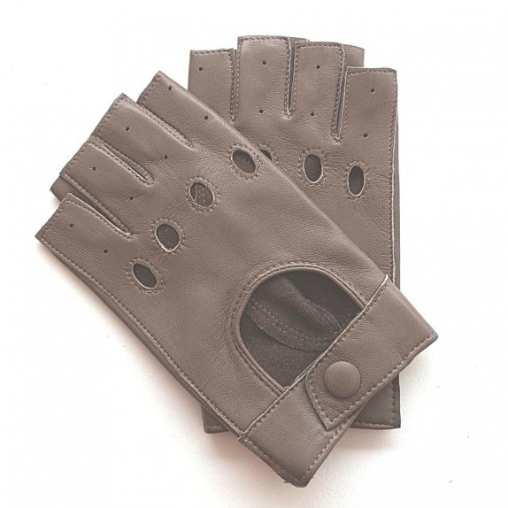 "Leather mittens of lamb taupe ""PILOTE""."