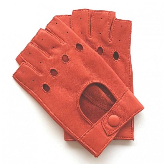 "Leather mittens of lamb orange ""PILOTE""."