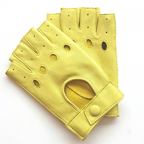 "Leather mittens of lamb fluo yellow ""PILOTE""."