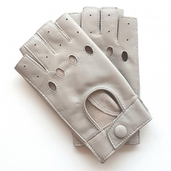 "Leather mittens of lamb pearl grey ""PILOTE""."