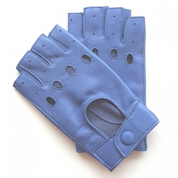 """Leather Mittens of lamb lavender blue """"PILOTE""""."""