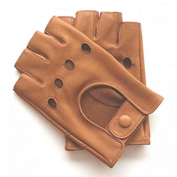 "Leather mittens of lamb clear caramel ""PILOTE""."