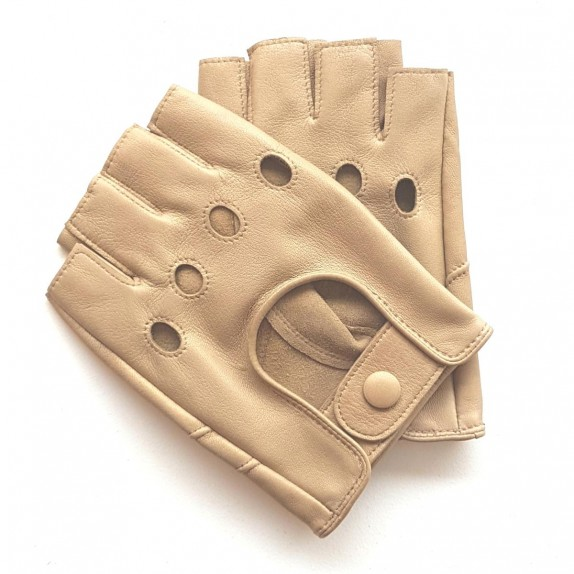 """Leather mittens of lamb sand """"PILOTE""""."""