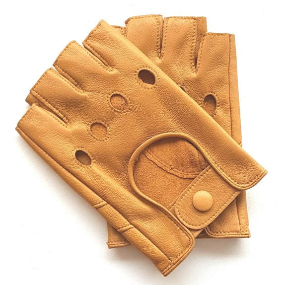 "Leather mittens of lamb clear cork ""PILOTE""."