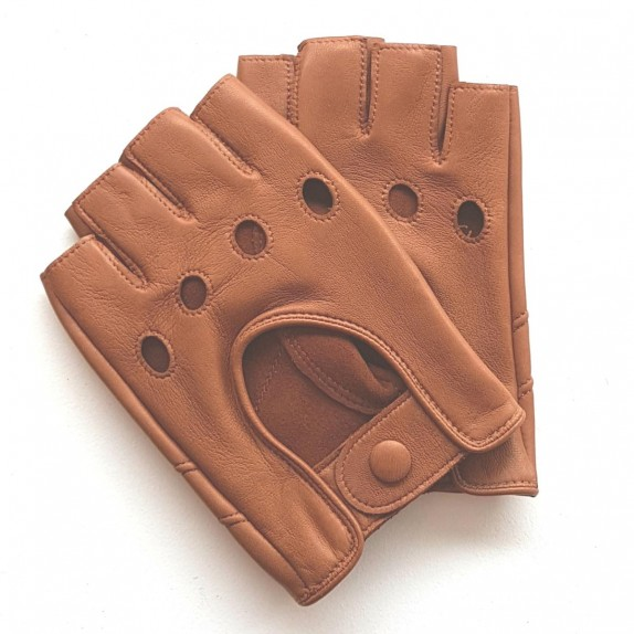 "Leather mittens of lamb caramel ""PILOTE""."