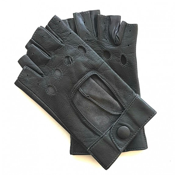 "Leather mittens of lamb grey ""PILOTE""."