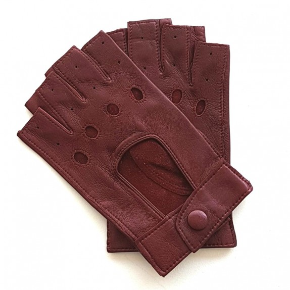 "Leather mittens of lamb maroon ""PILOTE""."