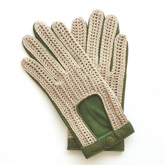"Leather gloves of lamb, cotton hook green, ecru ""ALFREDINE""."