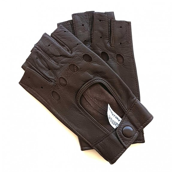 "Leather mittens of lamb brown ""PILOTE""."