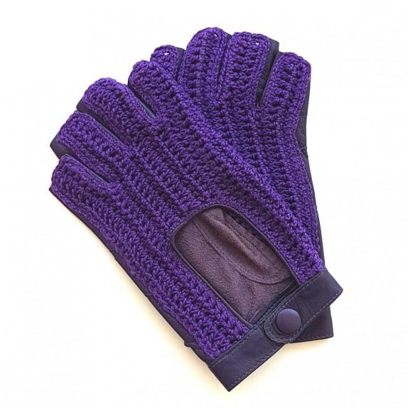 """Mitaines en cuir d'agneau et crochet coton violet """"MICHELE""""."""