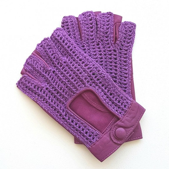 "Leather mittens of lamb and cotton hooks parma ""ANNY""."