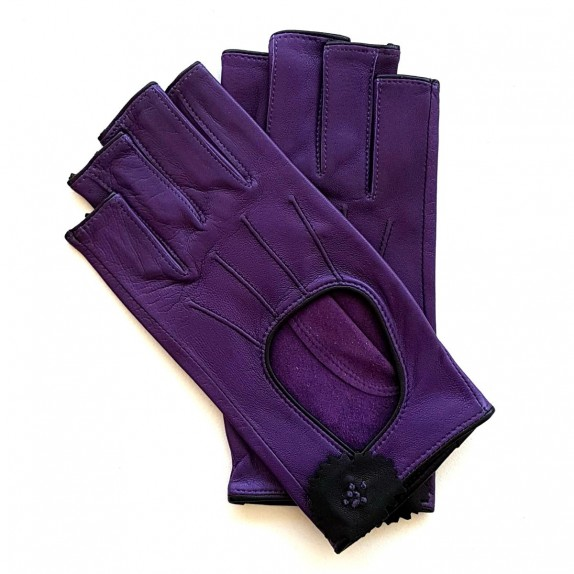 """Leather mittens of lamb purple and black """"DANICA""""."""