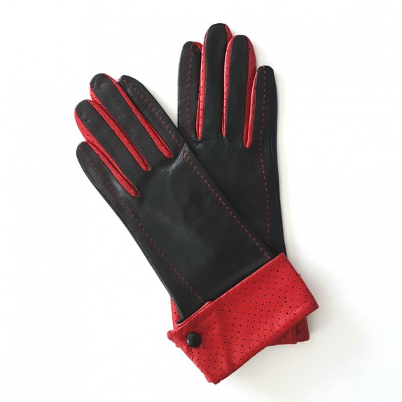 "Leather gloves of lamb black and red ""PLATON"""