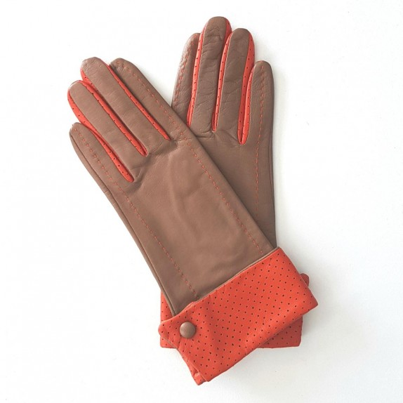 "Leather gloves of lamb sand and orange ""PLATON"""