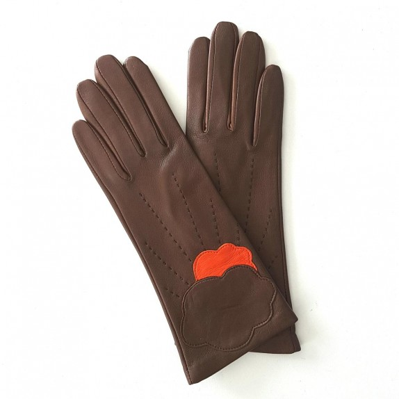 "Leather gloves of lamb brown and orange ""NUAGE""."